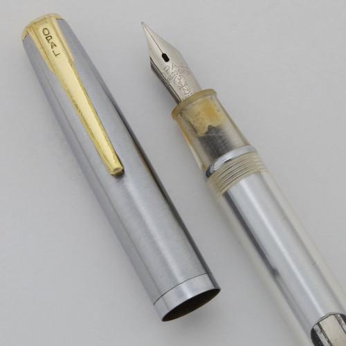 Opal Junior Demonstrator Fountain Pen - Clear Acrylic Barrel, Aerometric Filler, Steel Fine Nib (Excellent, Working Well)