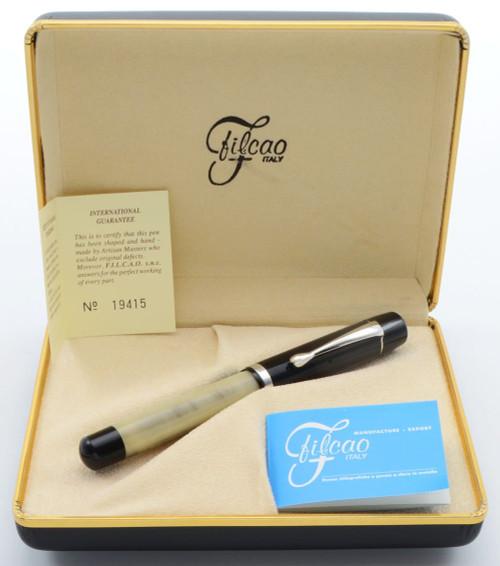 Filcao Sylvia Fountain Pen - Black and Horn, 14k Medium Nib, Button Filler (New in Box)