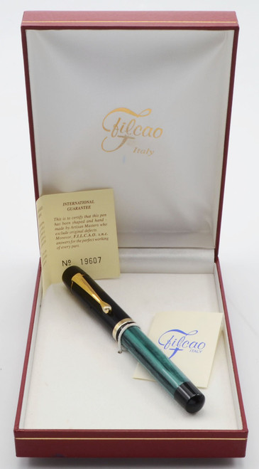 Filcao Sylvia Fountain Pen - Green Stripe w Black Cap, 14k Medium, Button Filler (Like New in Box)