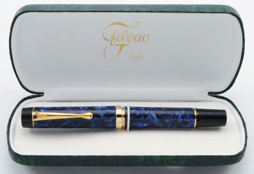 Filcao Leader Fountain Pen - Deep Blue Marble, Cartridge/Converter, Medium GP Steel Nib (New in Box, Works Well)