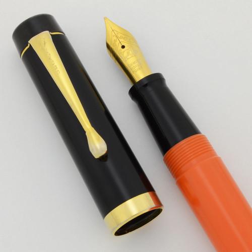 Filcao New Leader Fountain Pen - Orange w Black Cap, Button Fill, Medium GP Steel Nib (Near Mint, Works Well)
