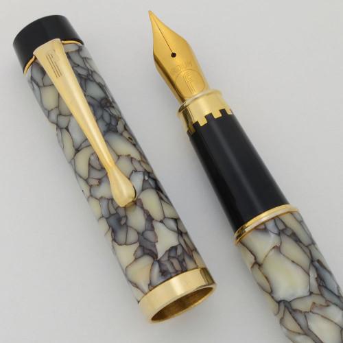 Filcao Leader Fountain Pen - Cracked Ice Celluloid, Medium GP Steel Nib (New Old Stock, Works Well)