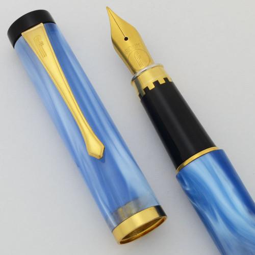 Filcao Libra Fountain Pen - Sky Blue, Medium GP Steel Nib (New Old Stock, Works Well)