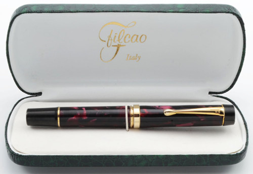 Filcao Leader Fountain Pen - Red Marble Celluloid, Medium Steel Nib (New Old Stock in Box, Works Well)