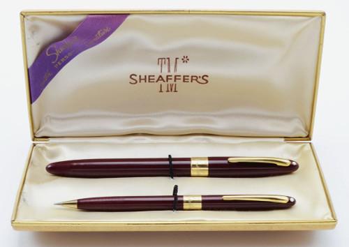 Sheaffer TM Signature Snorkel Pen Set - Burgundy, 14k Cap Band, Fine Triumph Nib (Very Nice in Box, Restored)