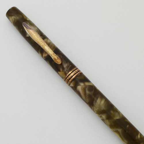"Conklin Mechanical Pencil (1930s) - Brown Marble, ""Thick"" 1.1mm Leads (Very Nice, Works Well)"