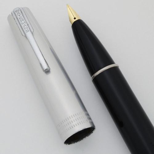 Waterman Alum Junior Taperite Fountain Pen (1940s) - Black, Aluminum Cap, Lever Filler, Medium Nib (Excellent +, Restored)