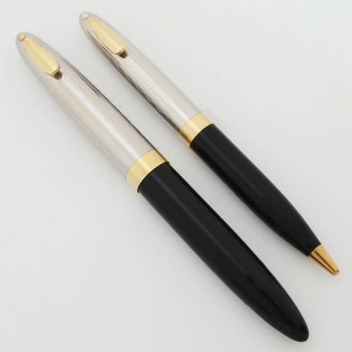 Sheaffer Tuckaway Sentinel Fountain Pen Set (1949) -Black, Touchdown, Fine Gregg 14k Nib (Excellent, Restored)