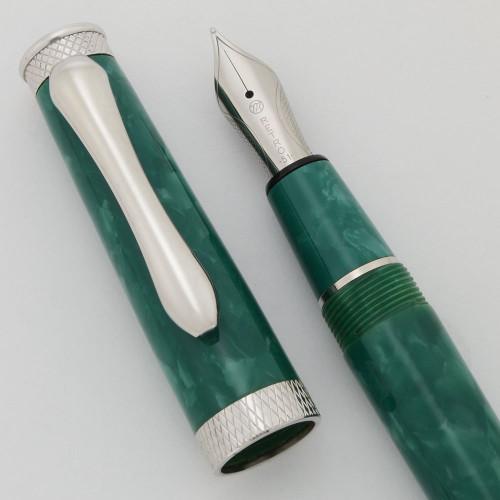 Retro 51 Scriptmaster Fountain Pen - Aqua Marble, C/C,  Medium Nib (Near Mint)