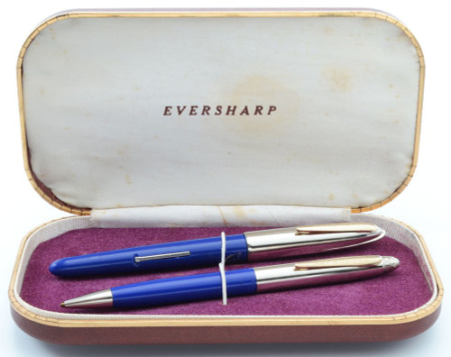 Eversharp Symphony 500 (Loewy First Version) Fountain Pen Set - Blue, Flexible Fine 14k Nib (New Old Stock in Box, Restored)