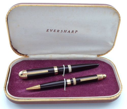 Eversharp Skyline Demi J76 Fountain Pen Set  (1940s)- Burgundy w Gold Derby & Wide Band, 14k Manifold Medium Nib (New Old Stock in Box, Restored)