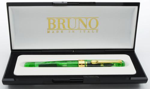 Bruno Kosmos Fountain Pen - Clear Green Acrylic, Medium Two-Tone Nib (Near Mint in Box, Works Well)