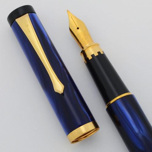 Filcao Libra Fountain Pen - Blue Marble, Medium GP Steel Nib (New Old Stock, Works Well)