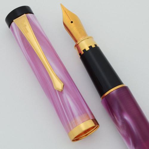 Filcao Libra Fountain Pen - Rose Marble, Medium GP Steel Nib (New Old Stock, Works Well)