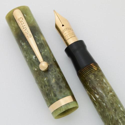 Sheaffer Lifetime Flat Top Oversized (1930s) - Pale Jade Green, Medium (Very Nice, Restored)