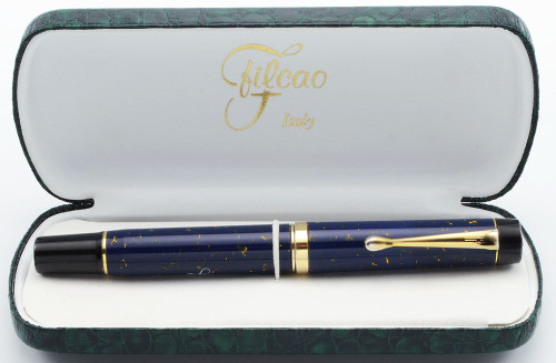 Filcao Leader Fountain Pen - Blue Lapis Celluloid, Medium Two-Tone Steel Nib (New Old Stock in Box, Works Well)