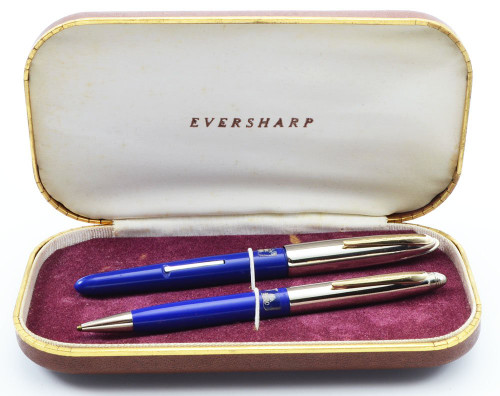 Eversharp Symphony 500 (Loewy First Version) Fountain Pen Set - Blue, Manifold Medium 14k Nib (New Old Stock in Box, Restored)