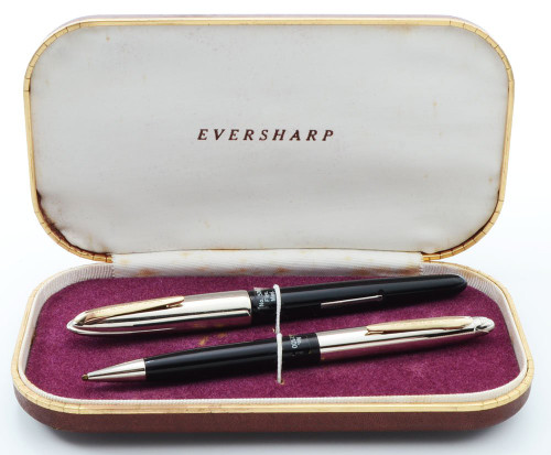 Eversharp Symphony 500 (Loewy First Version) Fountain Pen Set - Black, Flexible Medium 14k Nib (New Old Stock in Box, Restored)