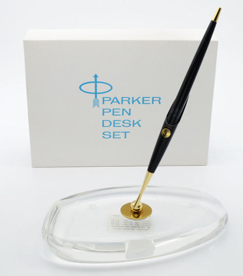 Parker 51 Aerometric (1960s) - Desk Pen Set, Black Pen, Clear Lucite Oval Base, Gold Medium Nib (Mint in Box, Works Well)