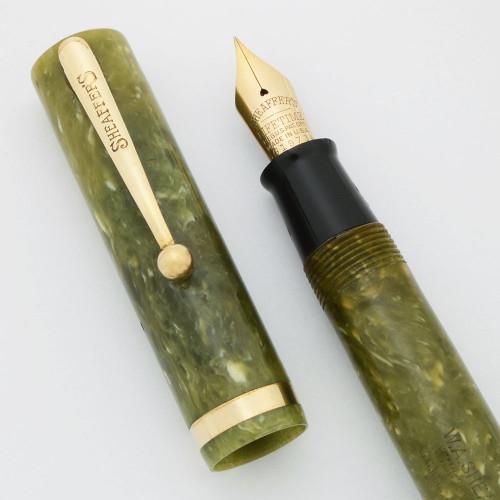 Sheaffer Lifetime Flat Top, Early 1930s - Oversized Jade Green, Short Humped Clip, Lever Filler, Fine (Excellent, Restored)