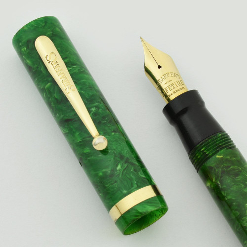Sheaffer Lifetime Flat Top Oversized  (Early 1930s) - Jade Green, Short Humped Clip,  Medium-Fine Flexible Nib (Excellent, Restored)