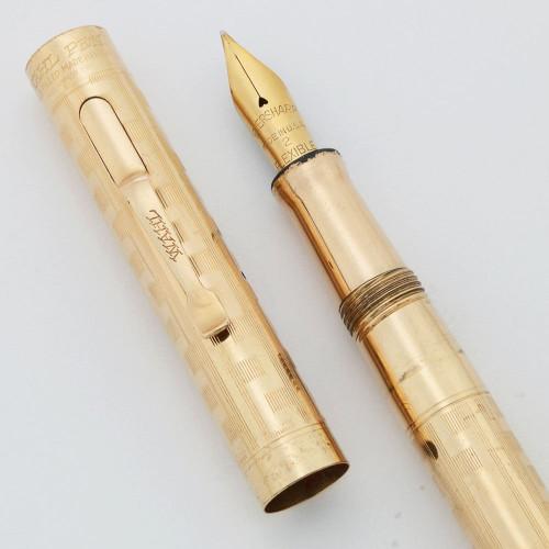 "Wahl Eversharp Fountain Pen #2 with Clip (1920s) - Yellow Gold Filled Greek Key Design, ""Flexible"" Eversharp Fine Nib (Very Nice, Restored)"