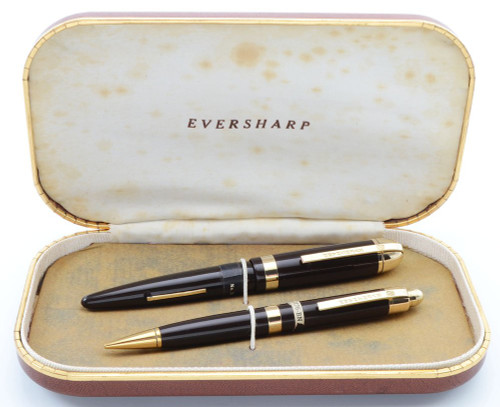 Eversharp Skyline Demi J76 Fountain Pen Set - Brown w Gold Derby & Wide Band, 14k Gold Fine Manifold Nib (New Old Stock in Box, Restored)