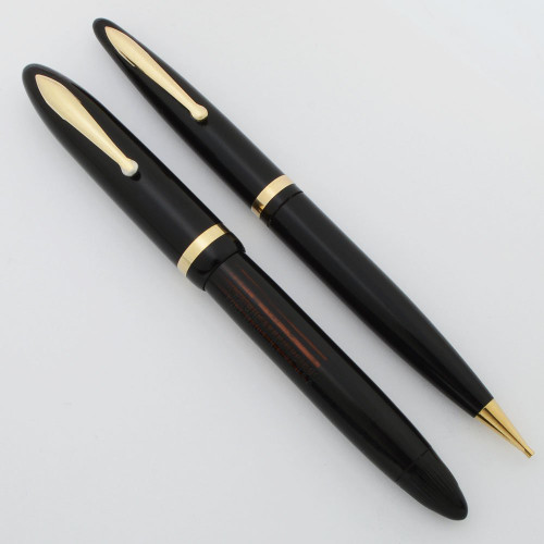 Sheaffer Balance Fountain Pen Set  (1940s) -  Black, Vac-Fil, #5 Fine 14k Two Tone Feather Touch Nib (Very Nice, Restored)