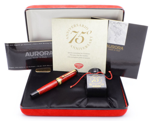 Aurora Optima Fountain Pen SE 75th Anniversary (1994) - Red Auroloide, Piston Fill, 18k Medium Nib (Near Mint in Box, Works Well)