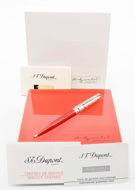 S T Dupont Andy Warhol LE (Elvis Presley/#260/1964) Ballpoint Pen - Red with Chrome Cap  (Near Mint in Box, Works Well)