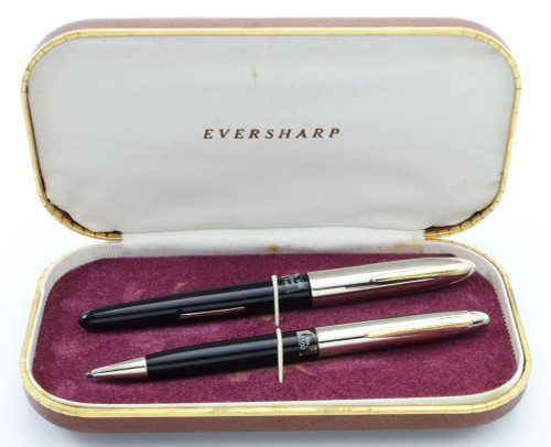 Eversharp Symphony 500 (Loewy First Version) Fountain Pen Set - Black, Manifold Fine 14k Nib (New Old Stock in Box, Restored)