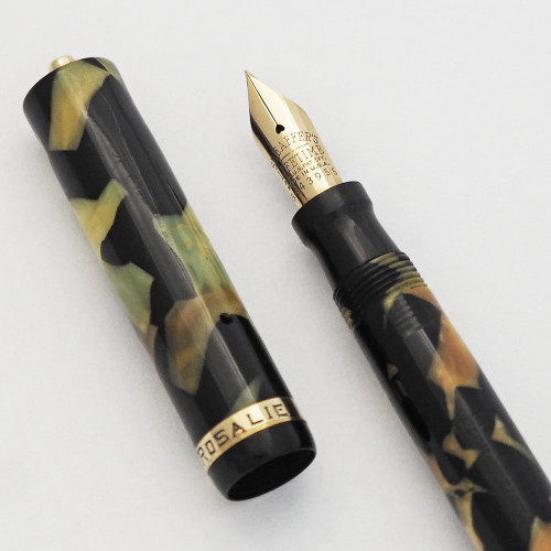 Sheaffer Lifetime Flat Top  (1930s) - Black & Pearl, Ring Top, Lever Fill,  Fine (Very Nice,  Restored)