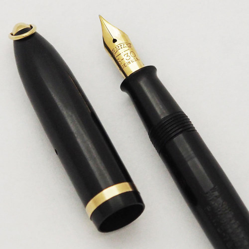 Sheaffer Balance 5-30 Ring Top Fountain Pen (1930s)- Black with Gold Trim, Fine 5-30 Nib (Excellent, Restored)