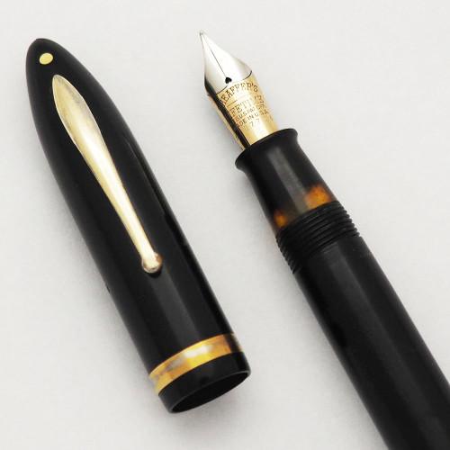 "Sheaffer Balance Lifetime ""Premier"" (1935-42) - Black, Oversized, Lever Fill, 14k Medium Nib (Very Nice, Restored)"