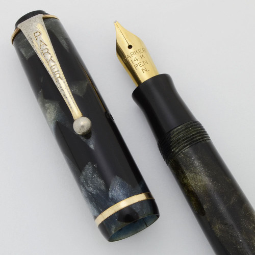 Parker Premiere aka Duette Sr. Fountain Pen (Canada, 1937)  - Grey Marble, Button Filler,  Medium Semi-Flex Nib (Excellent +, Restored)