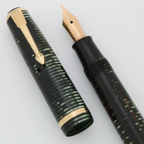 Parker Vacumatic Sub Deb Fountain Pen (1940) - Emerald Pearl, Star Clip, Medium-Fine 14k Nib (Excellent +, Restored)