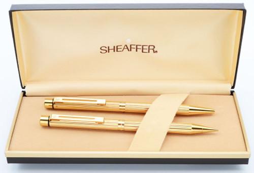 Sheaffer Targa 1005 Ballpoint & Pencil Set - Gold Fluted (New Old Stock in Box)