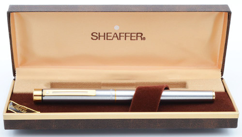 Sheaffer TARGA 1001XG (Later Version) Fountain Pen - Brushed Steel w Gold Trim, Various Gold Nibs (New Old Stock in Box)