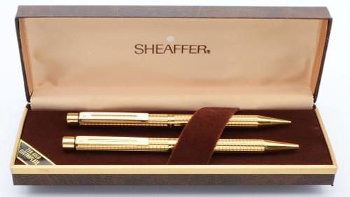 Sheaffer Targa 1007 Ballpoint & Pencil Set - Gold Plated Geometric (New Old Stock in Box)