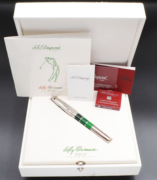 "ST Dupont Olympio LeRoy Neiman"" Golf"" LE Fountain Pen (2000s) - Chinese Lacquer, Pd Trim, 18k Medium Nib (Near Mint in Box, Works Well)"