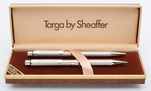 Sheaffer Targa 1010 Ballpoint Pen & Pencil Set - Silverplated Diamond Squares w Chrome Plated Trim (New Old Stock in Box)