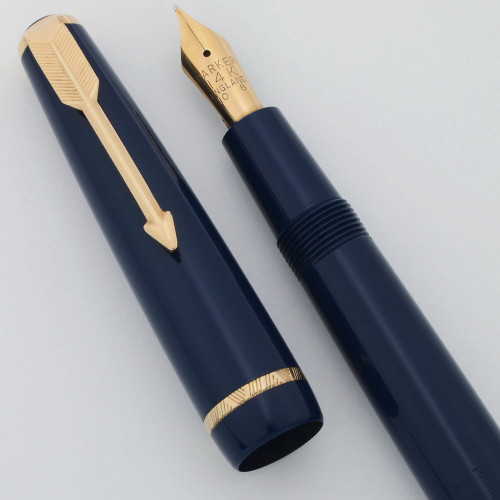 Parker Victory Mk V Fountain Pen - Aerometric, Blue, 14k Medium (Excellent, Works Well)