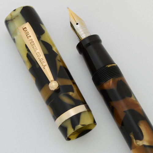 Eagle Oversized Fountain Pen - Black and Pearl with GT, Fine Steel Nib (Very Nice, Restored)