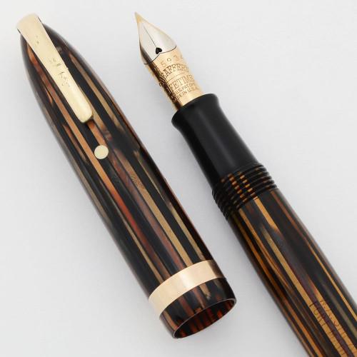 Sheaffer Balance Lifetime - Brown Striated, Full Size, Military Clip, Vac-Fill, Fine 14k Nib (Very Nice, Restored)