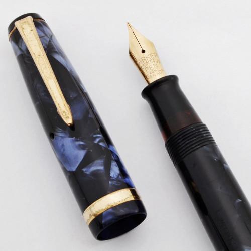 Parker Challenger Fountain Pen (1937, Canada) - Blue Marble, Button Filler, Fine 14K Flexible Nib (Very Nice, Restored)