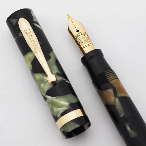 Sheaffer Lifetime Flat Top Fountain Pen (1920s) - Black & Pearl, Junior Size, Fine Lifetime Nib (Excellent, Restored)