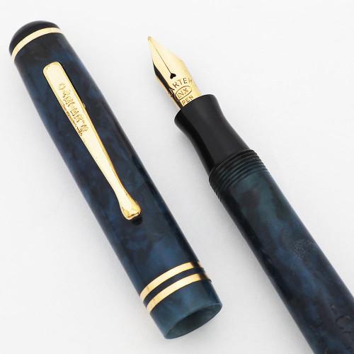 Carters INX Fountain Pen (1930s) - Junior Size, Blue Marble, Lever Filler, Medium Flexible Nib  (Excellent, Restored)