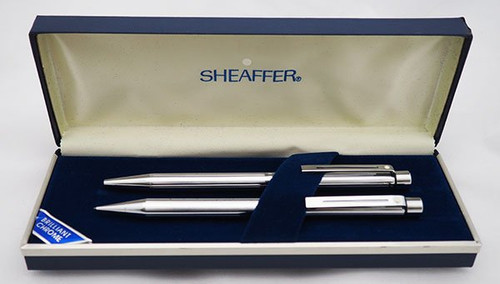 Sheaffer Targa 1000 BP MP Set - Mirror Chrome, Lined Pattern, CP Trim (New Old Stock, In Box)
