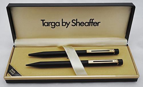 Sheaffer Targa 1003 Ballpoint & Mechanical Pencil Set - Early Version, Matte Black, Gold Trim .9mm Leads (New Old Stock in Box)