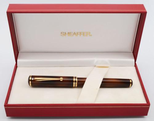 Sheaffer Grand Connaisseur Fountain Pen (1987) - Tortoiseshell, Gold-Filled Trim, Medium 18k Nib (New Old Stock in Box)